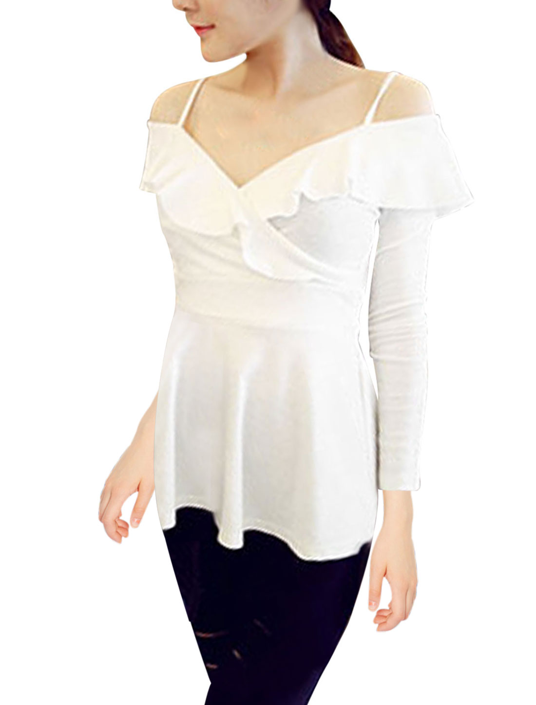 Ladies Pullover Long Sleeves Ruffled Detail White Top XS