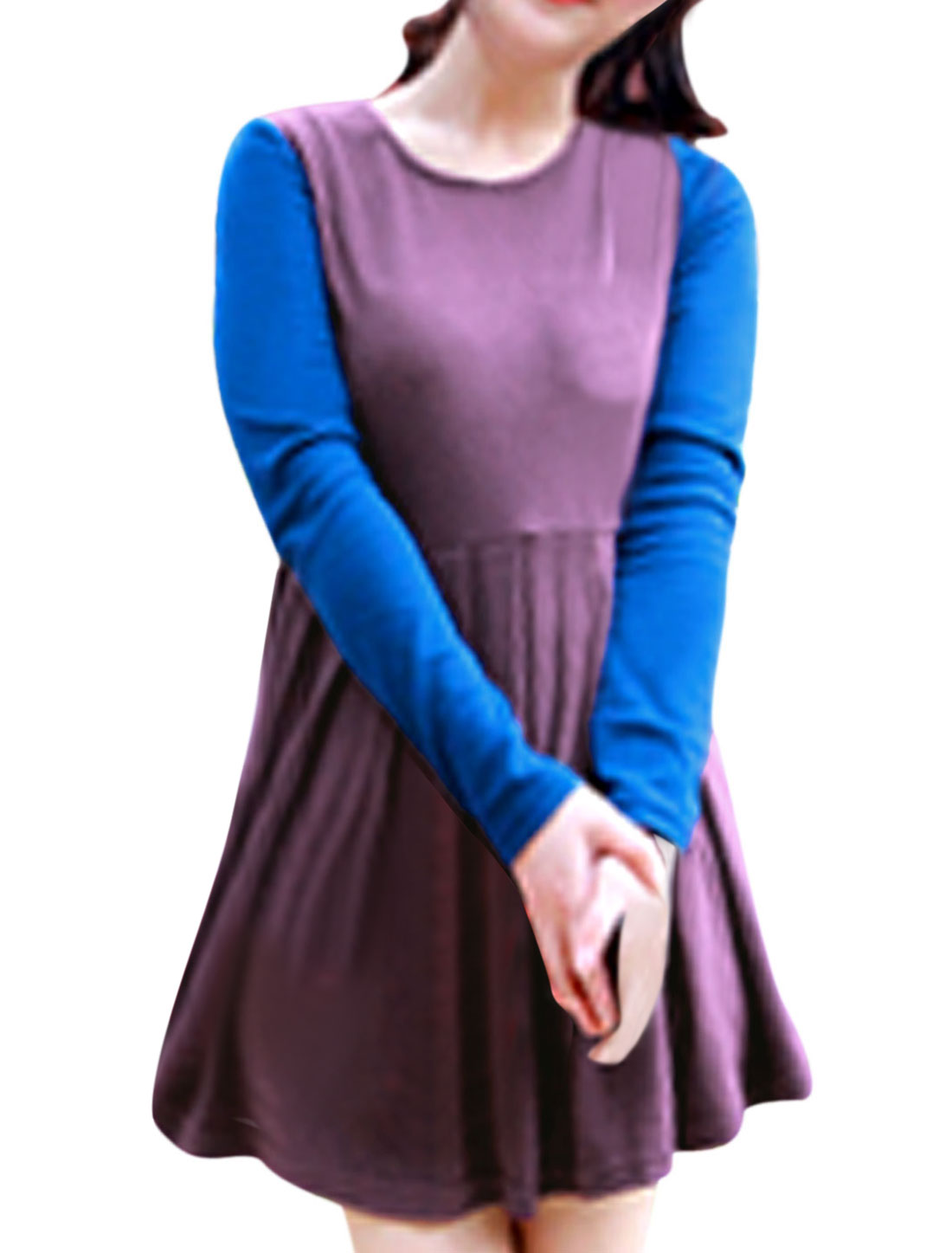 Ladies Color Blocking Round Neck Long Sleeve Casual Tunic Blouse Lilac Blue S