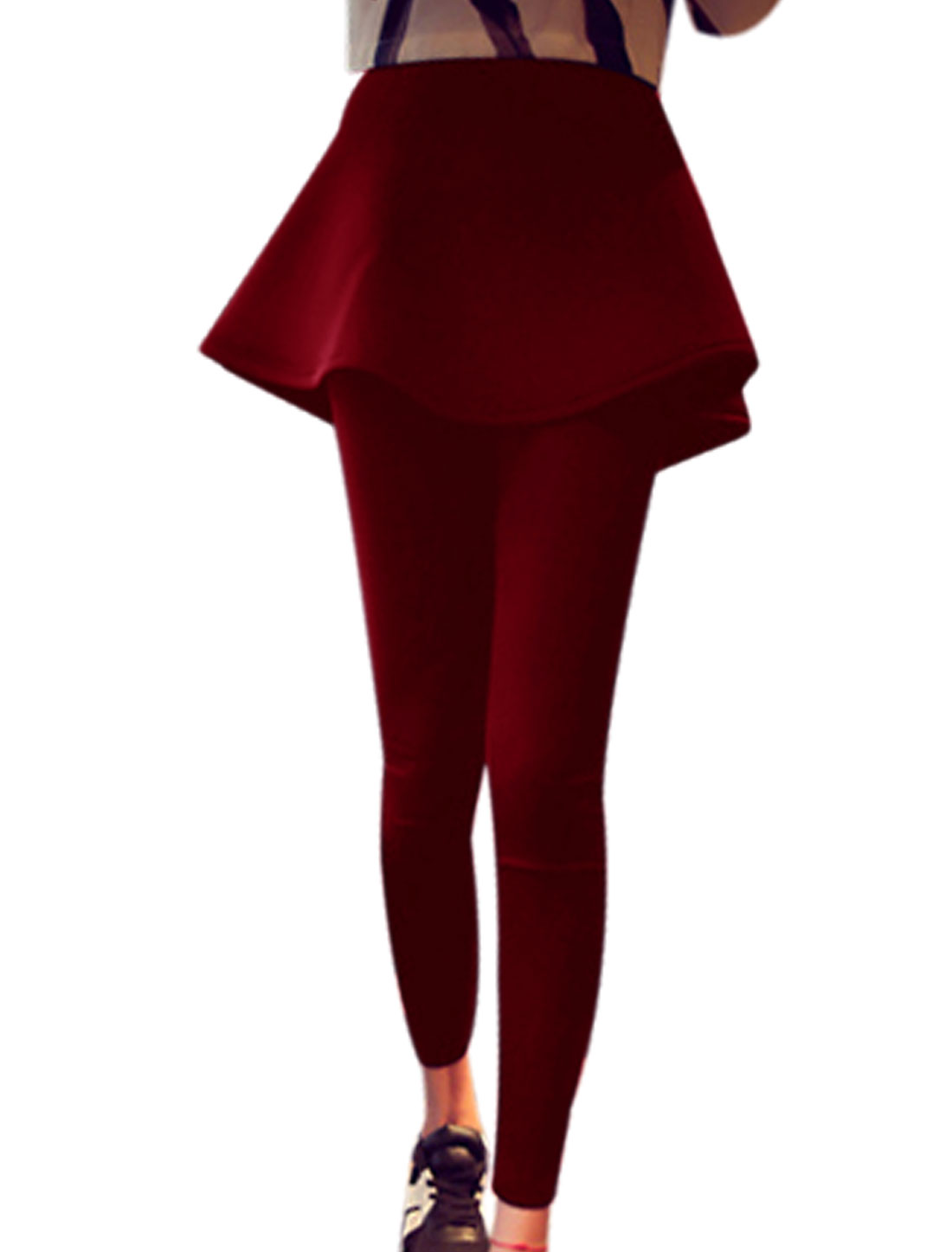 Ladies Layered Design Ruffled Hem Stylish Skirt Leggings Burgundy XS
