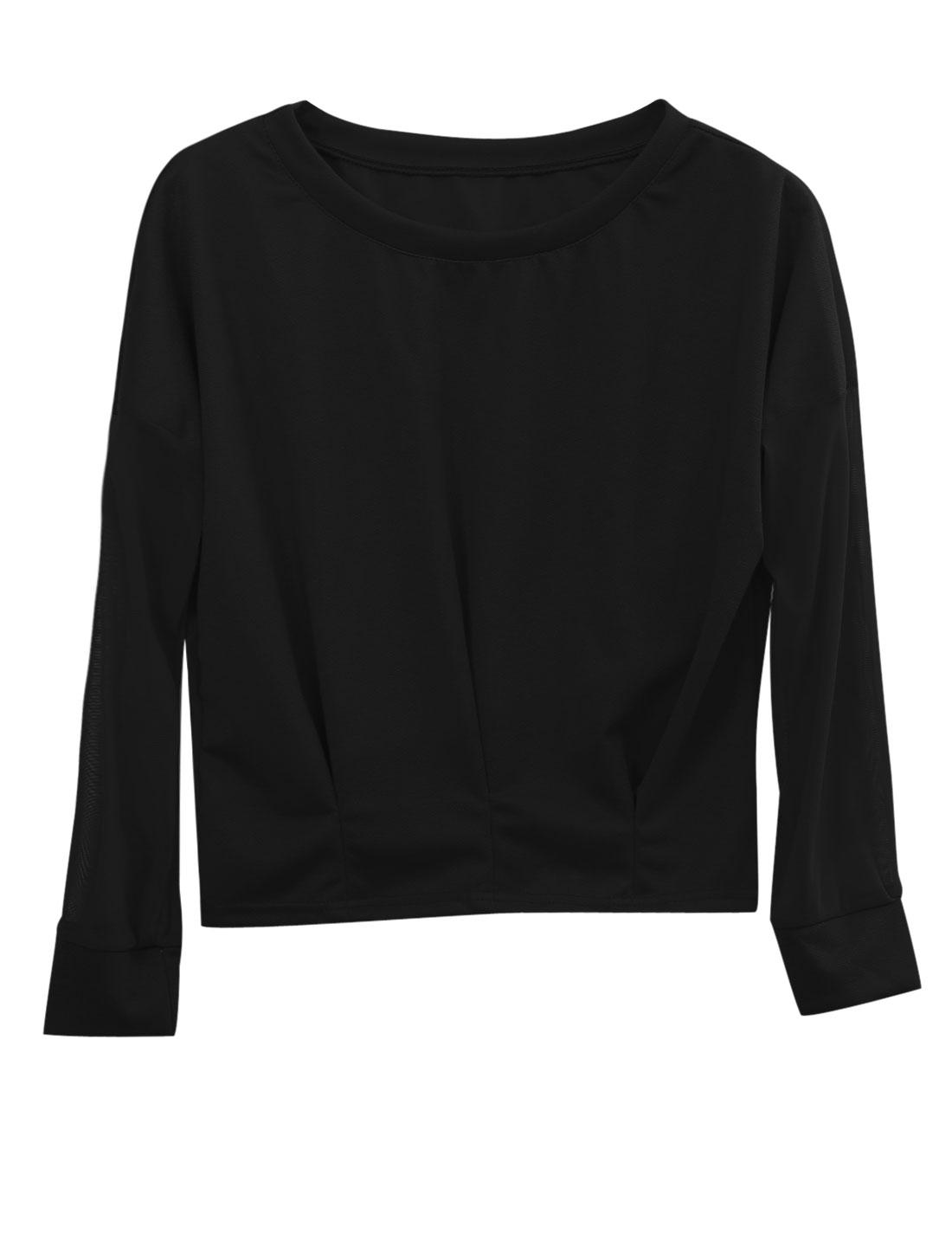 Ladies Batwing Sleeve Mesh Splicing Design Leisure Top Black XS
