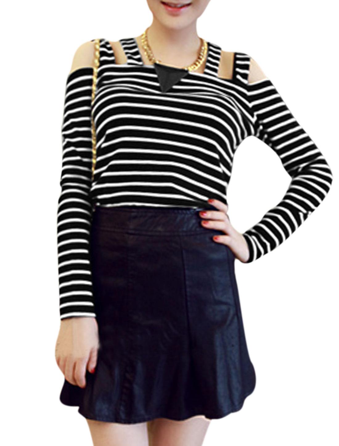 Ladies Multi Straps Bar Striped Pullover Sexy Top Black White S