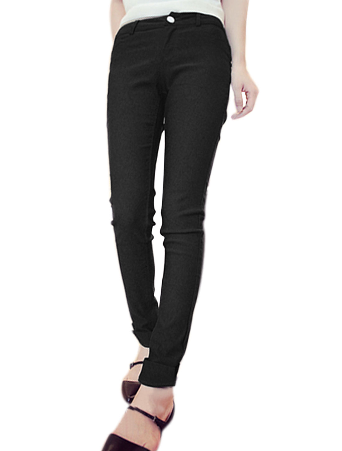 Ladies Natural Waist Two Front Pockets Skinny Leisure Pencil Pants Black XS
