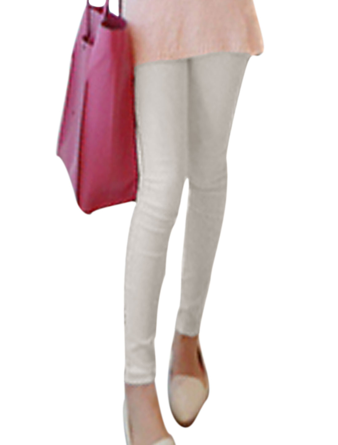 Ladies Mid Rise Zip Closure Belt Loops Casual Pencil Pants White XS