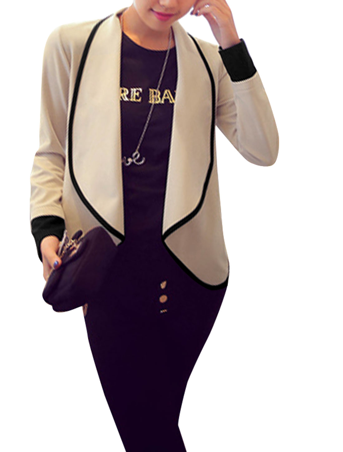 Loose Fit Soft Front Opening Fashion Cardigan for Lady Beige Black M