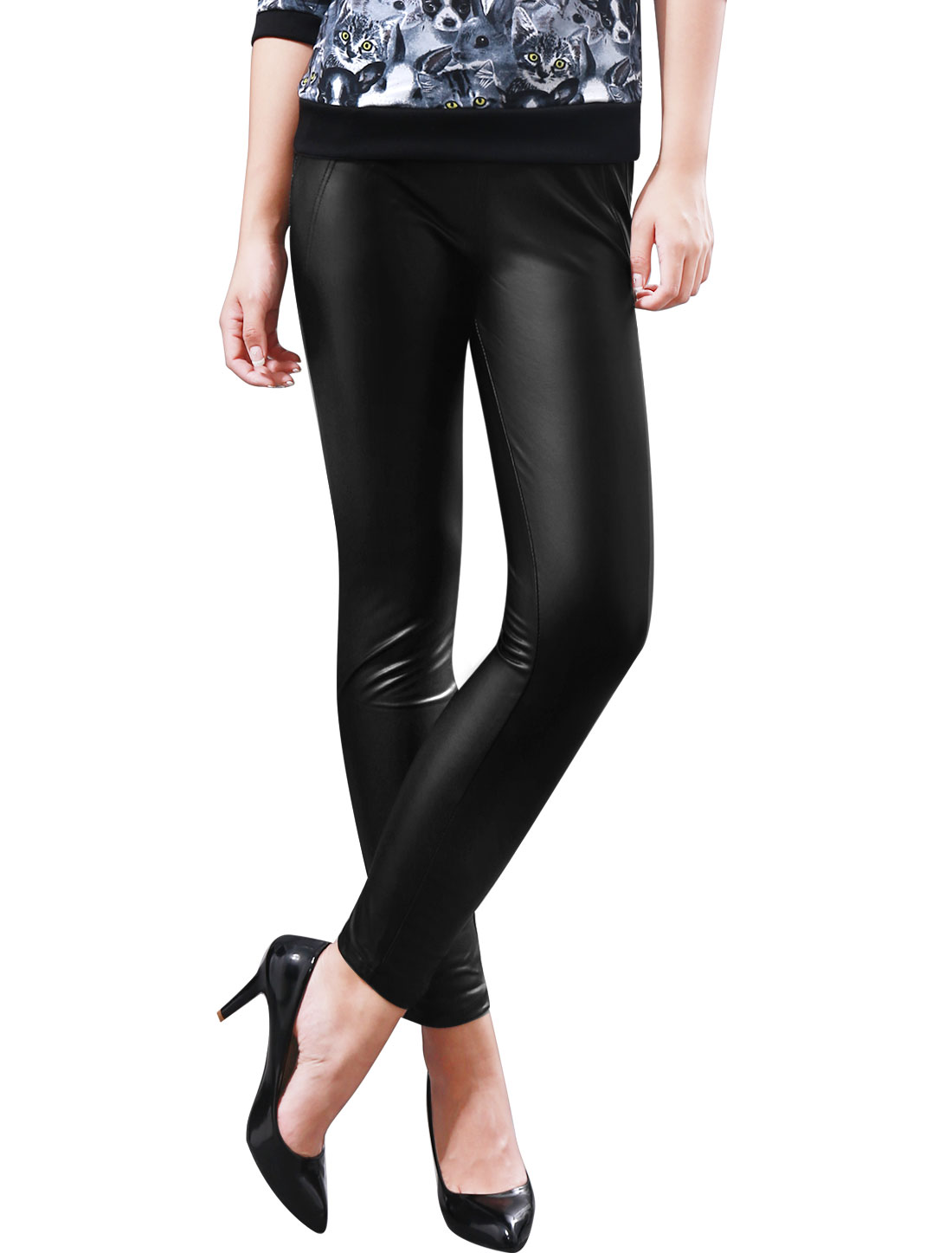 Women Pockets Back Elastic Waist Stylish Imitation Leather Pants Black M