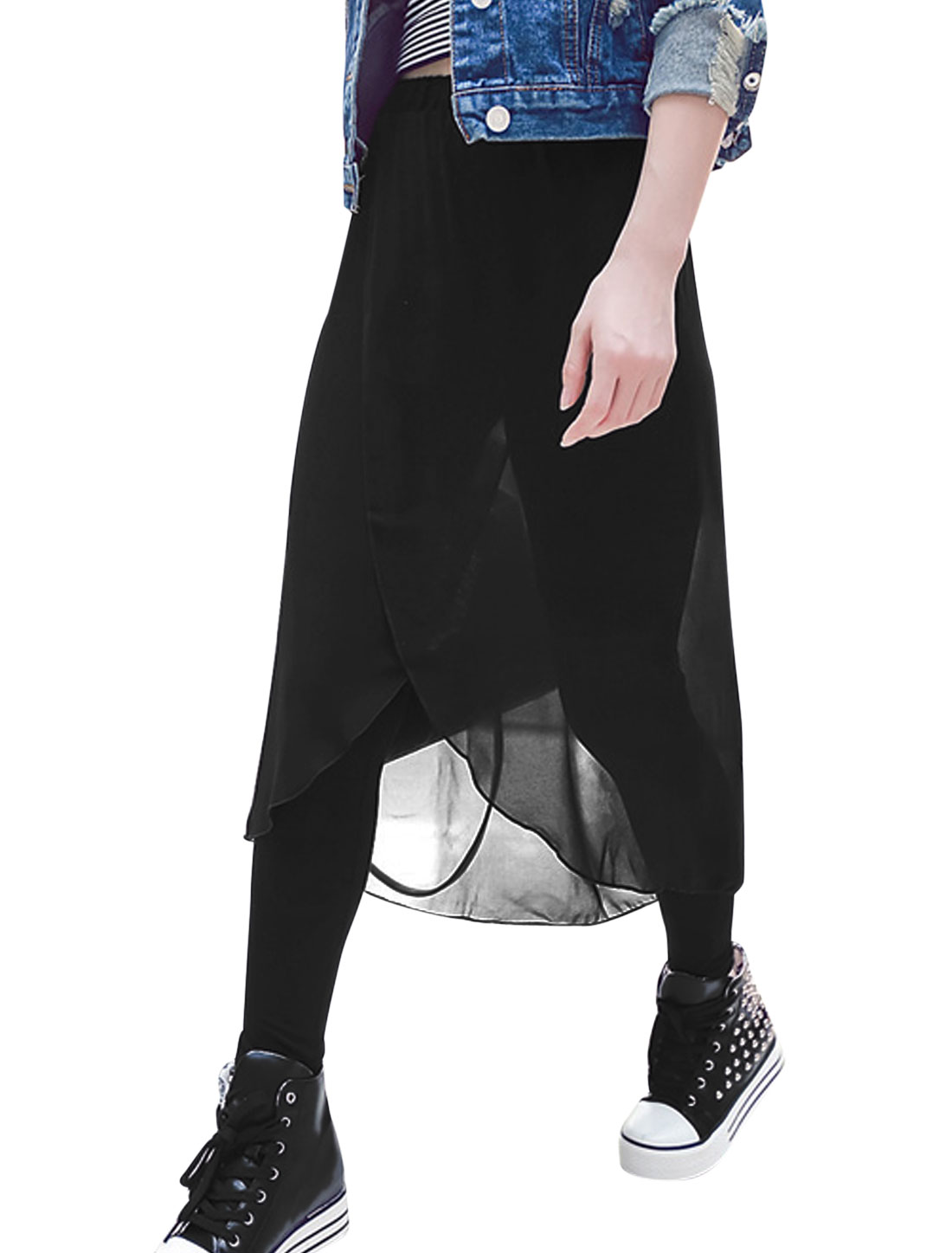 Lady Chiffon Panel Slim Fit Fashionable Skort Black XS