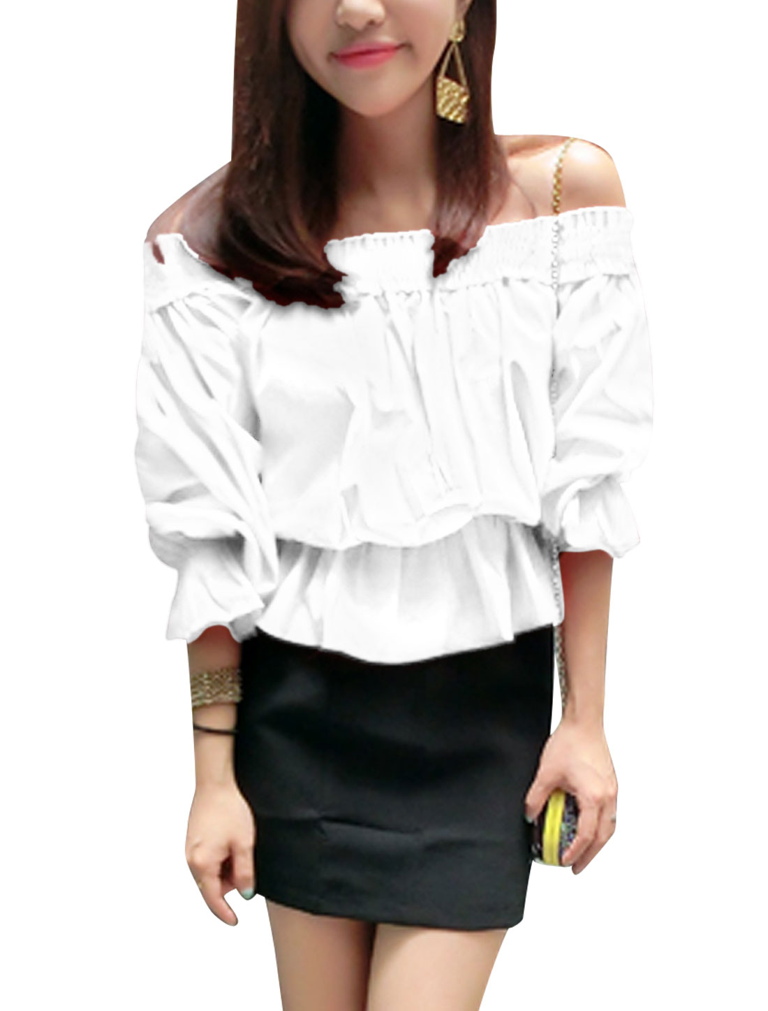Lady Off Shoulder Self Tie Back Fashion Casual Blouse White S