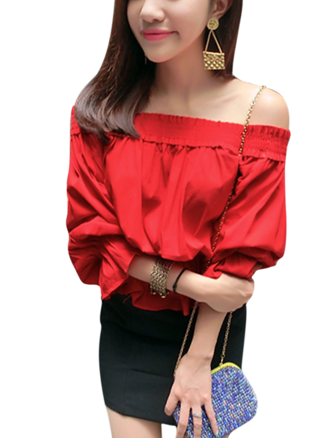 Lady Pullover Off Shoulder Ruffle Detail Leisure Blouse Red S