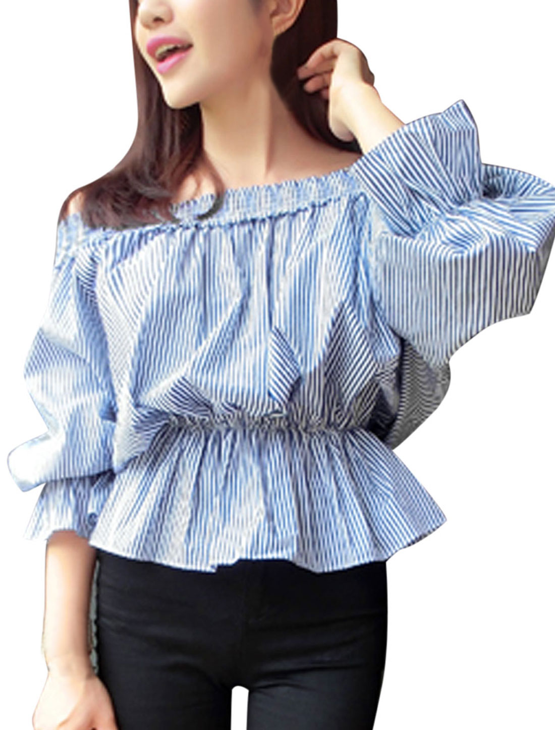Loose Fit Stylishi Off Shoulder Stripes Pattern Blouse for Lady Baby Blue S