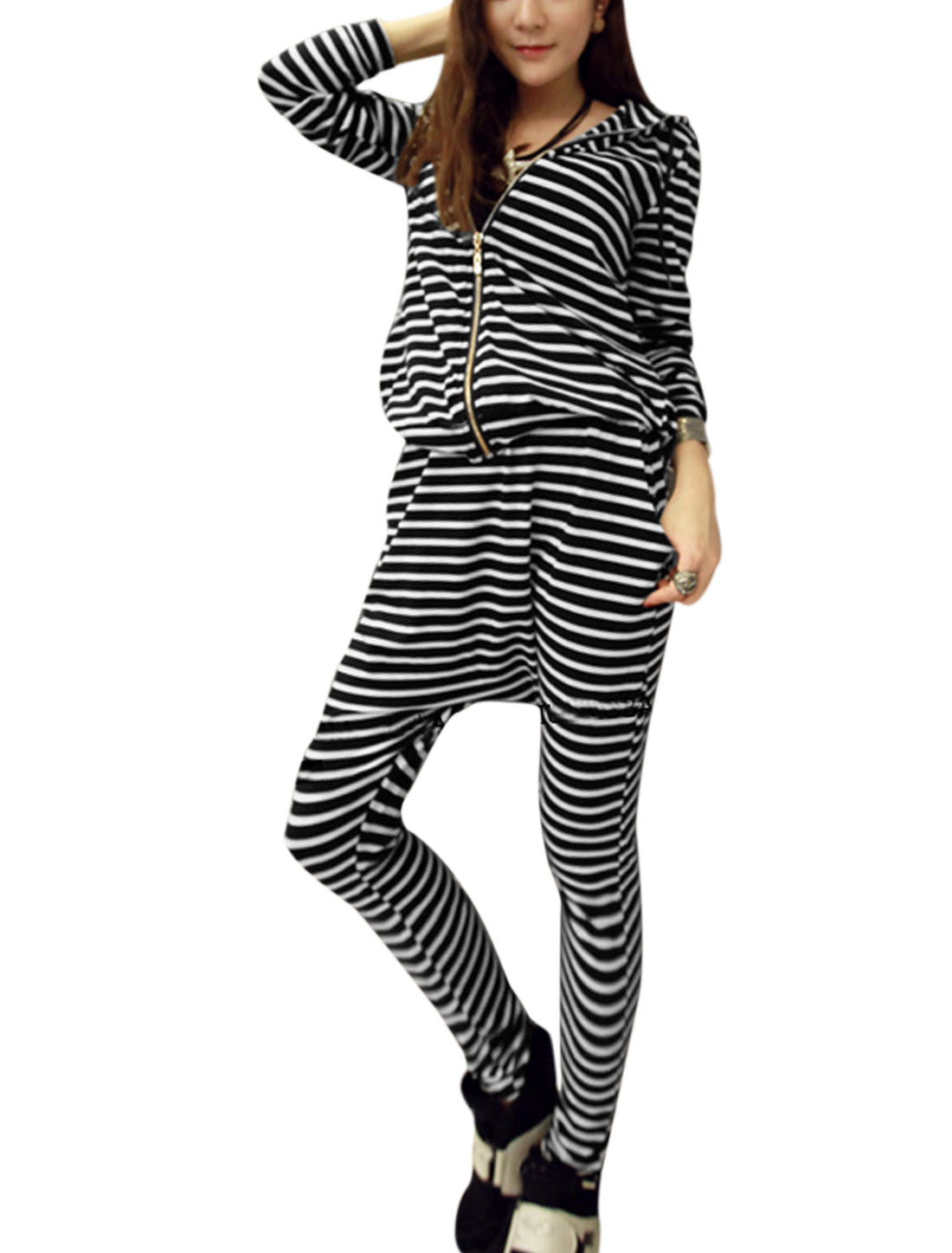 Ladies Black White Long Sleeves Stripes Hoodie w Elastic Waist Harem Pants S