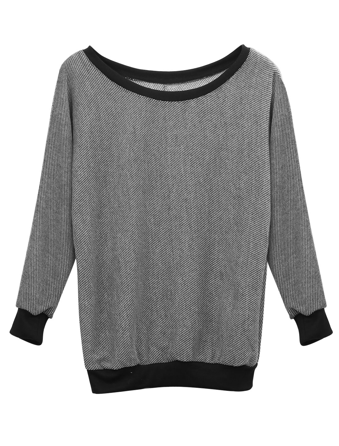 Ladies Round Neck Batwing Sleeve Ribbed Trim Top Heather Gray S