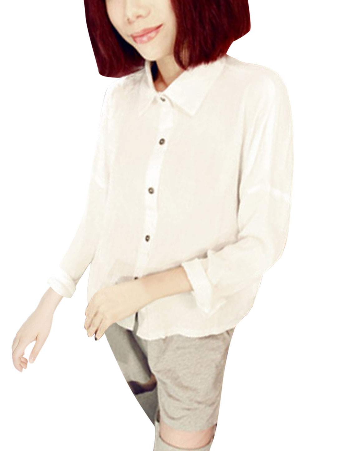 Lady Point Collar Single Breasted Fashion Casual Shirt White XS