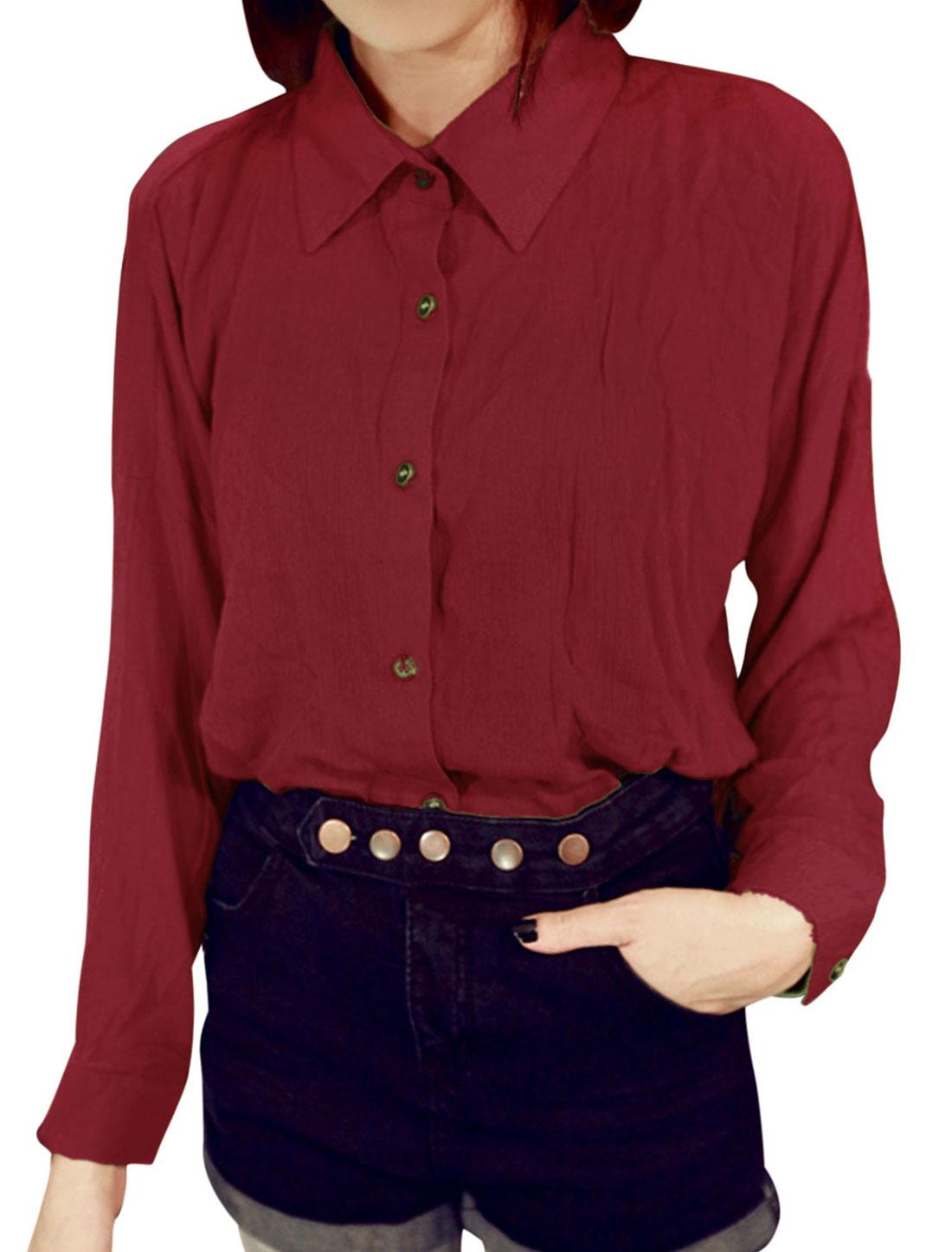 Lady Button Closure Front Button Cuffs Leisure Shirt Burgundy XS