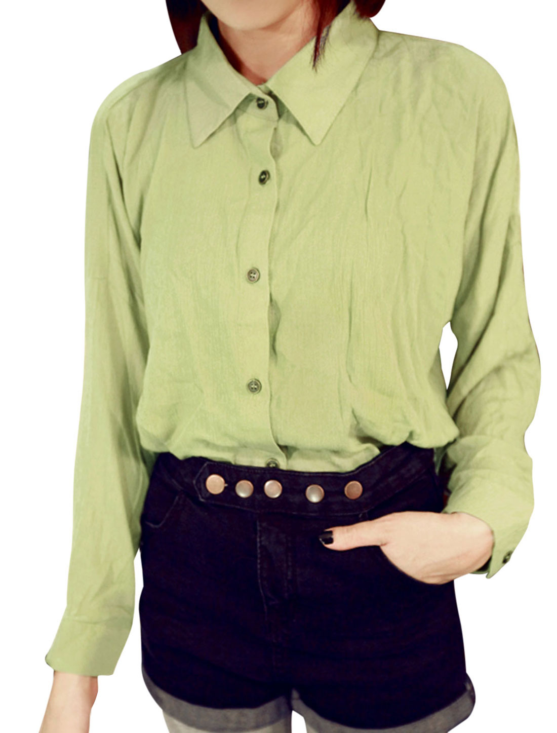 New Style Single Breasted Stylish Shirt for Lady Light Green XS