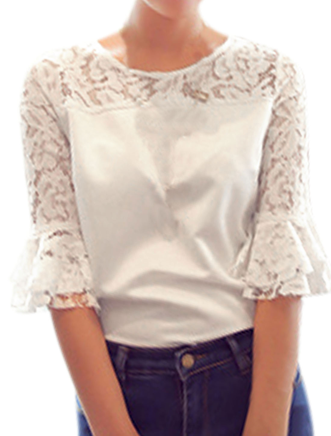 Ladies 3/4 Sleeve Laced Spliced Casual Shirt White XS