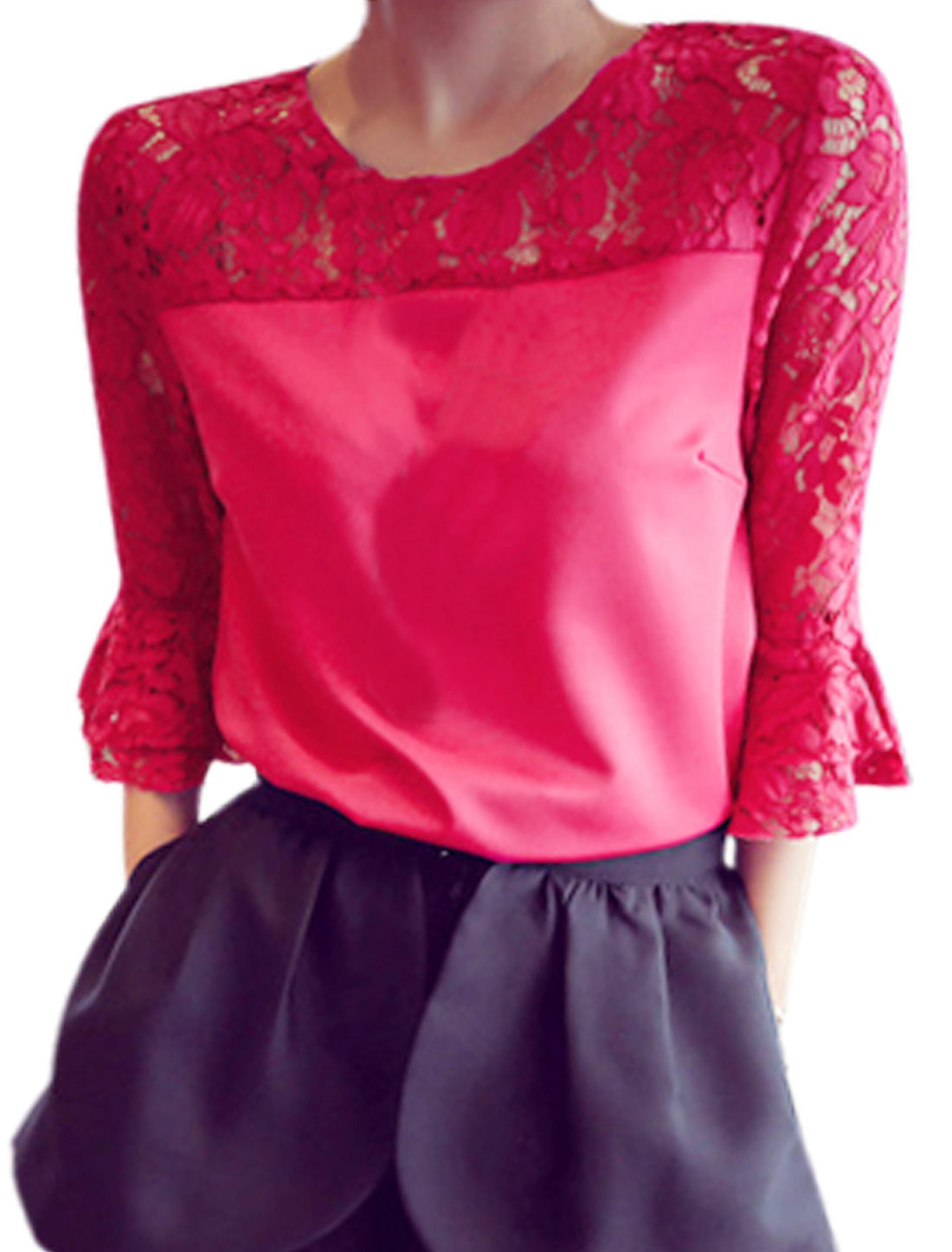 Ladies Lace Spliced Trumpt Sleeves Leisure Shirt Deep Fuchsia XS