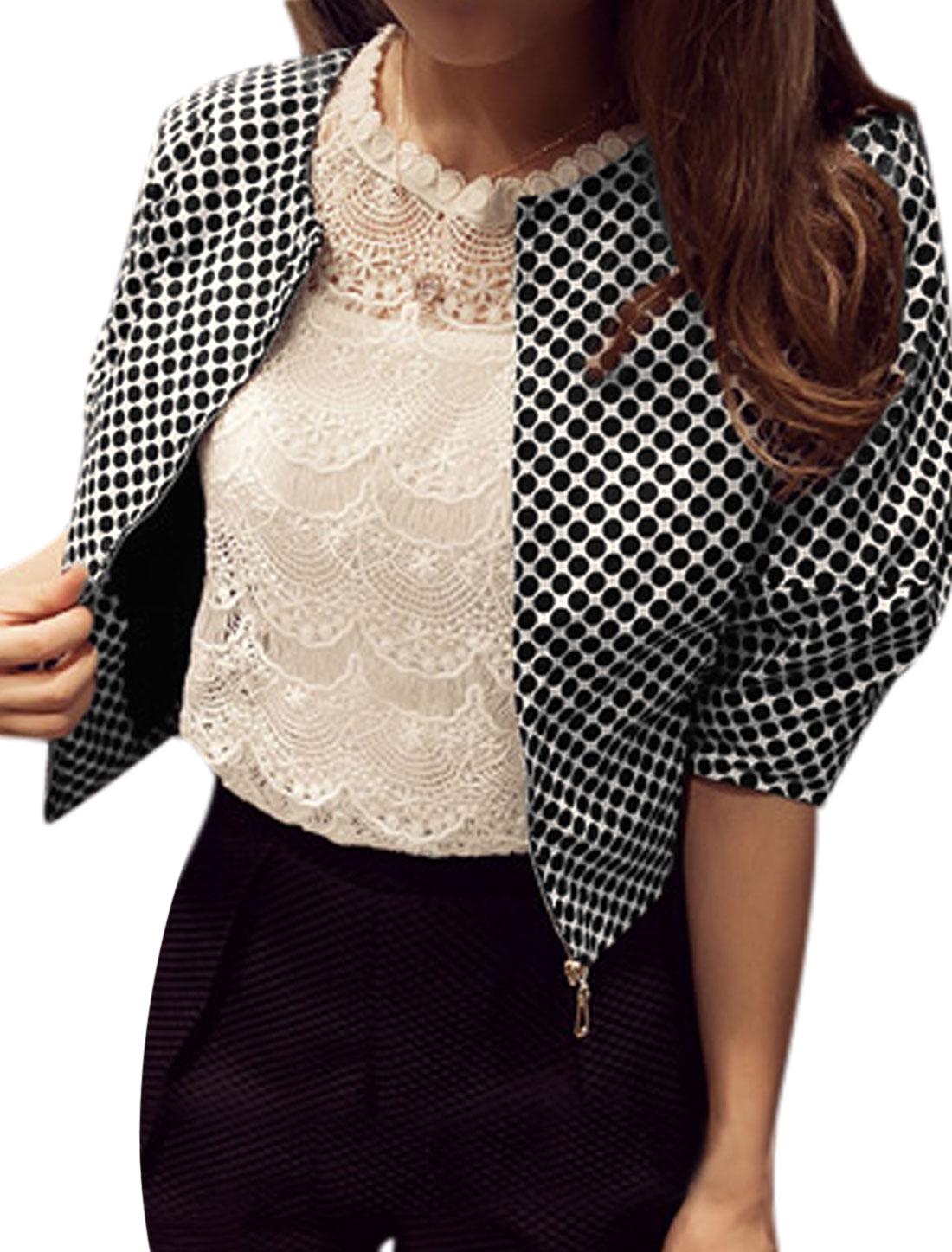 Ladies Dots Zip Closure Round Neck Leisure Jacket Black White XS