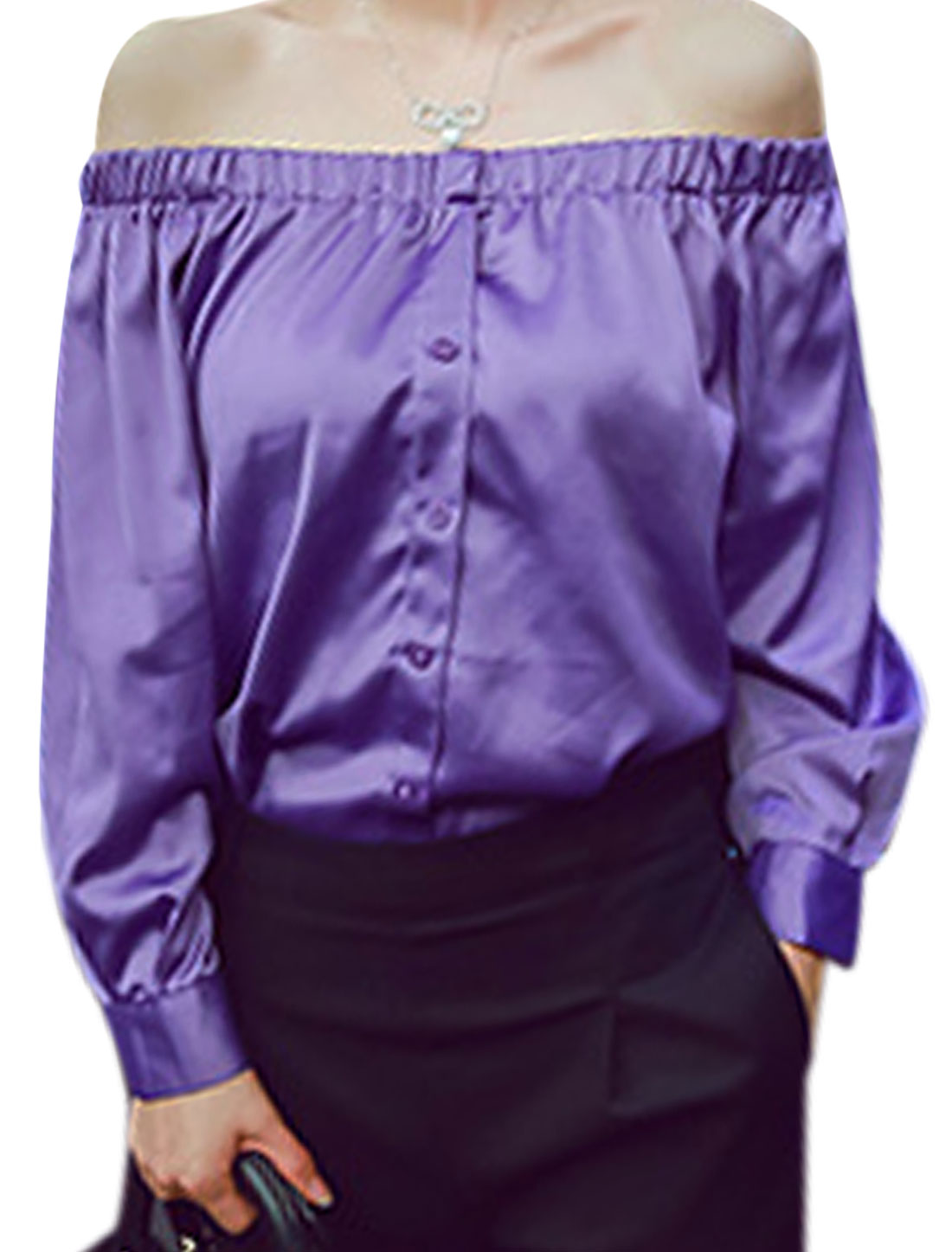 Lady Pullover Off Shoulder Button Cuffs Soft Blouse Purple XS
