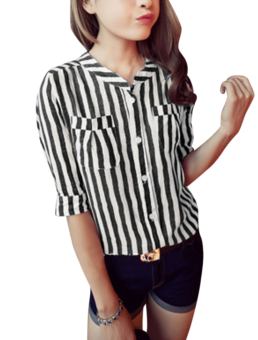 Lady Stripes Pattern Single Breasted Loose Fit Shirt Blakc White S