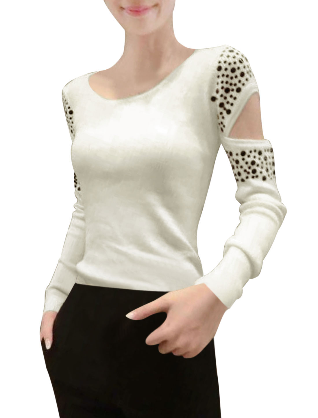 Ladies Round Neck Long Sleeves Pullover Slim Fit Beige Knit Top XS