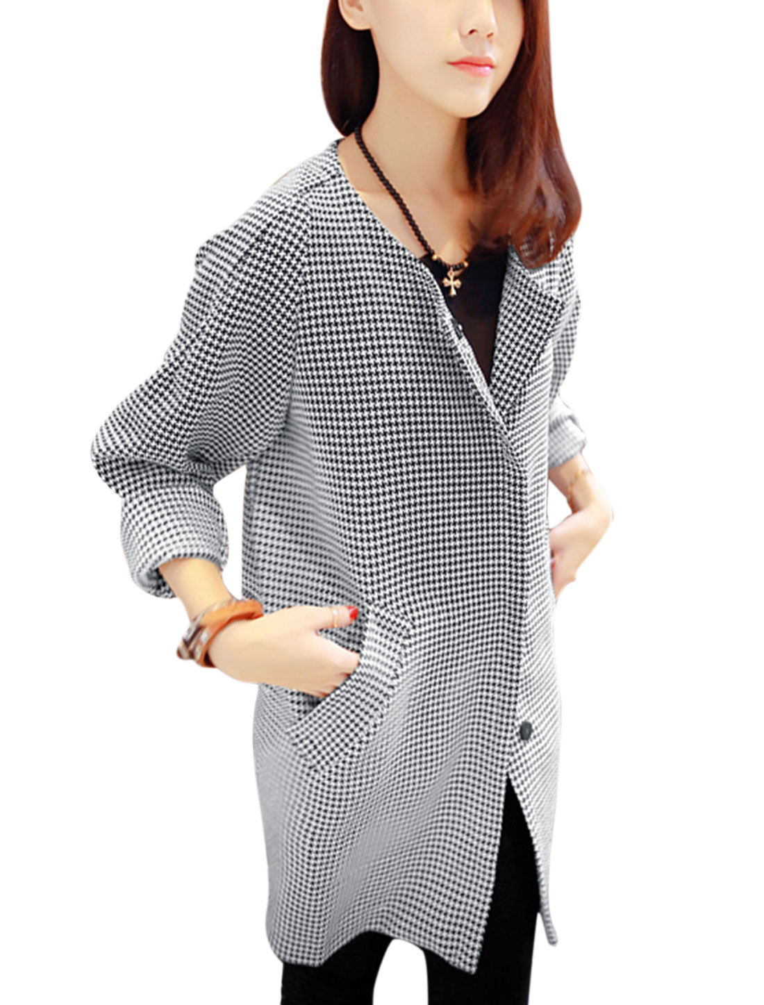 Ladies Round Neck Long Raglan Sleeve Houndstooth Pattern Trench Jacket Black White M