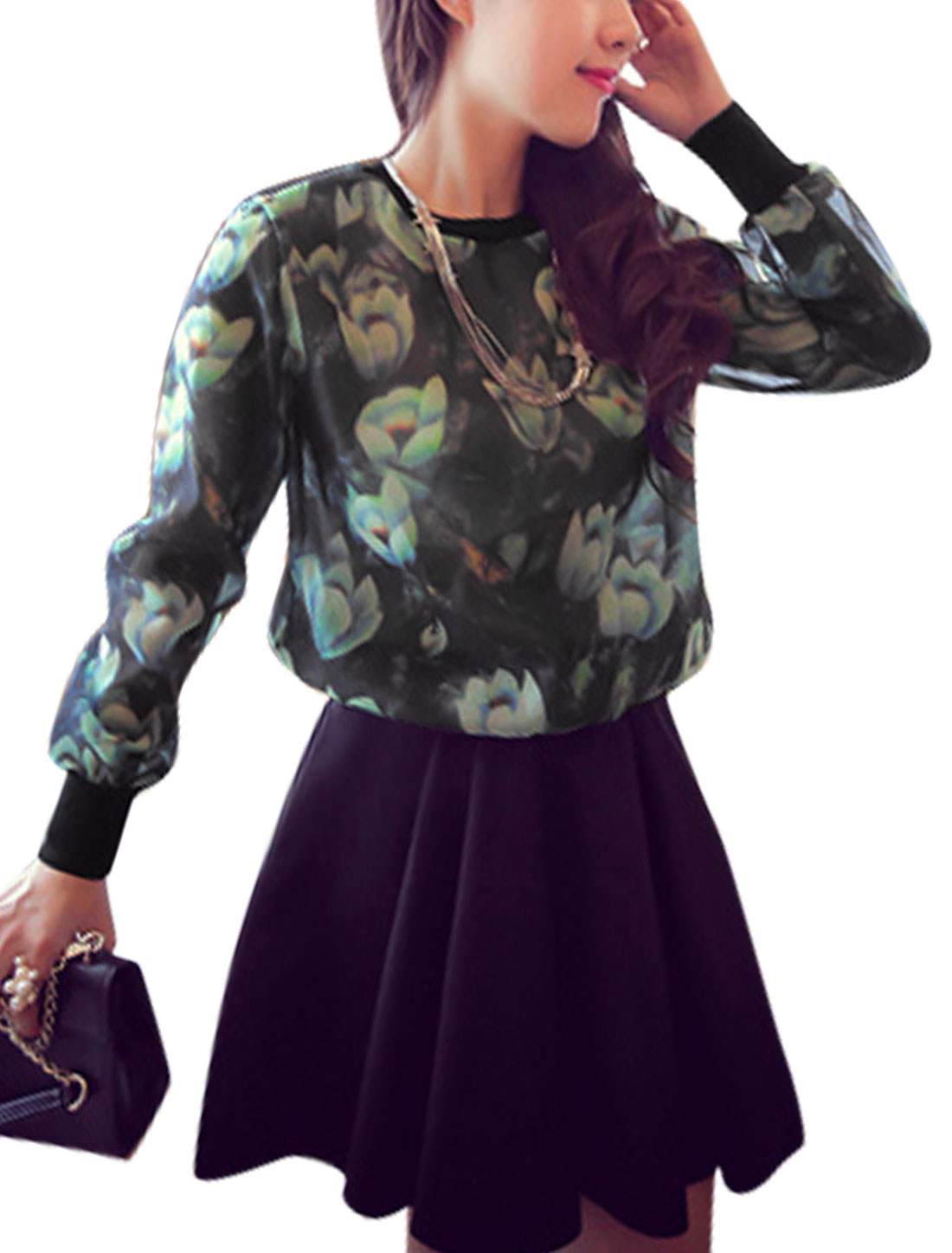 Ladies Black Green Long Sleeves Round Neck Pullover Floral Prints Shirt XS