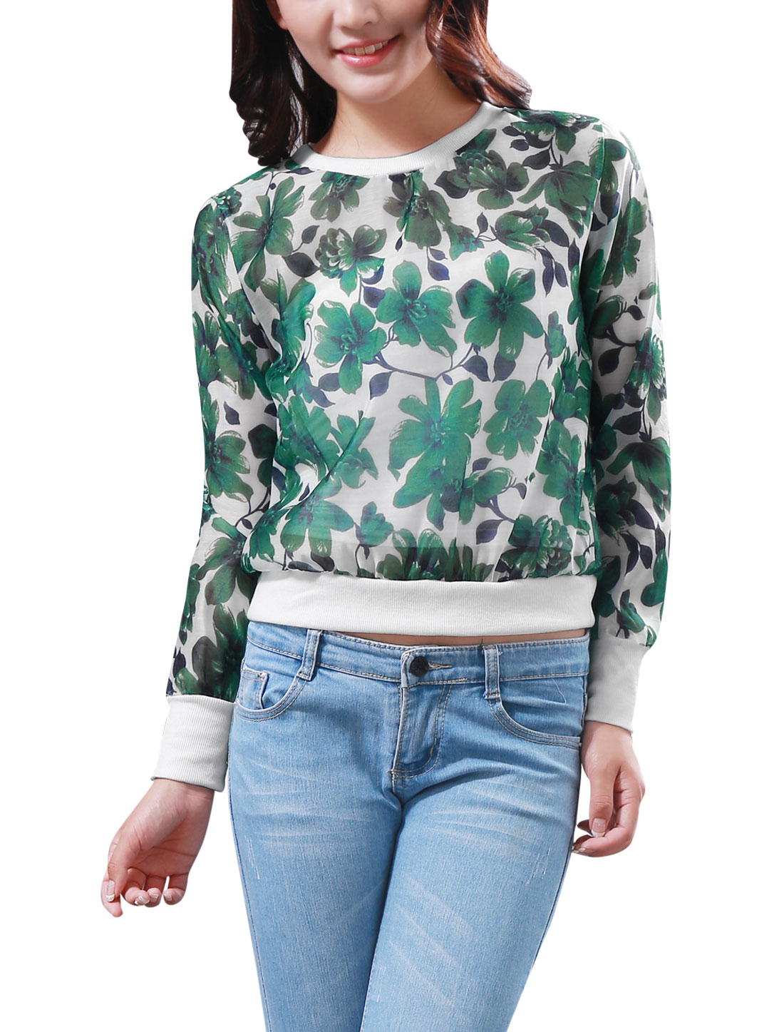 Lady Ribbed Trim Allover Floral Print See Through Casual Sweatshirt White Green XS