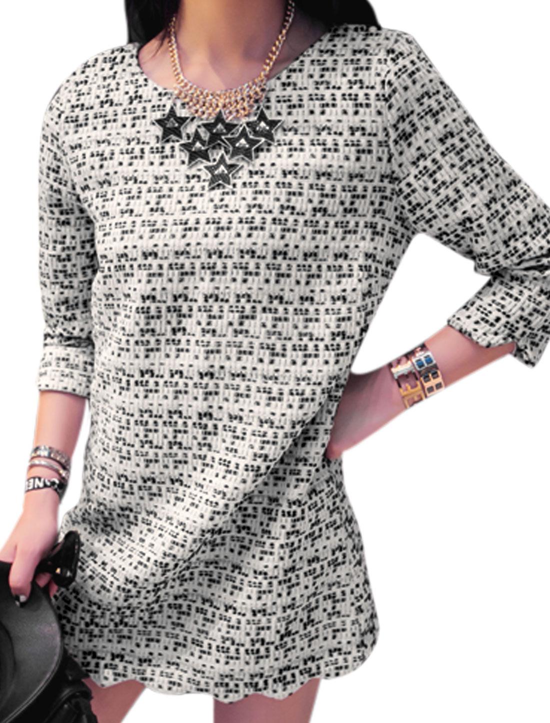 Lady 3/4 Sleeves Intertexture Design Wave Hem Straight Dress Black White XS