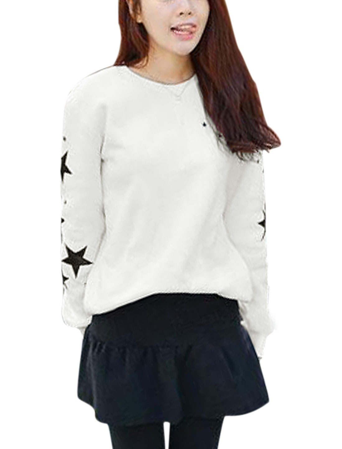 Women Stars Pattern Spliced Detail Long Sleeve Casual Sweatshirt White XS
