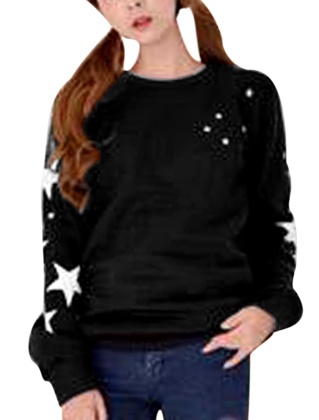 Lady Long Sleeve Stars Pattern Pullover Casual Sweatshirt Black XS