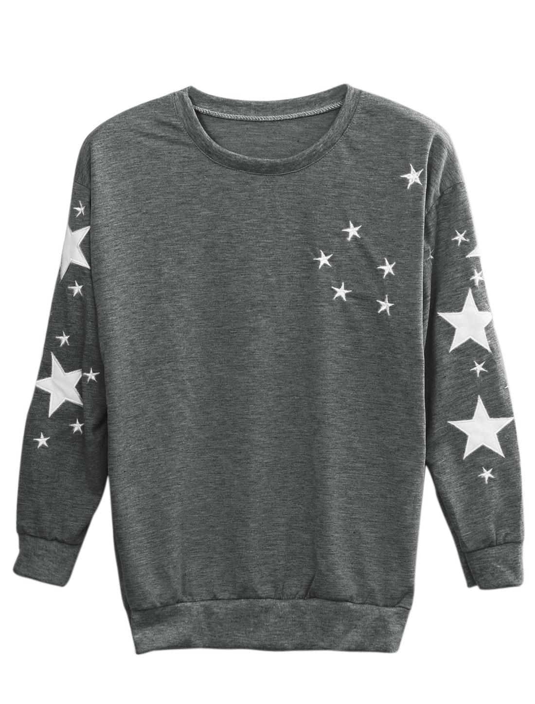 Women Stars Pattern Spliced Detail Slipover Sweatshirt Dark Gray XS