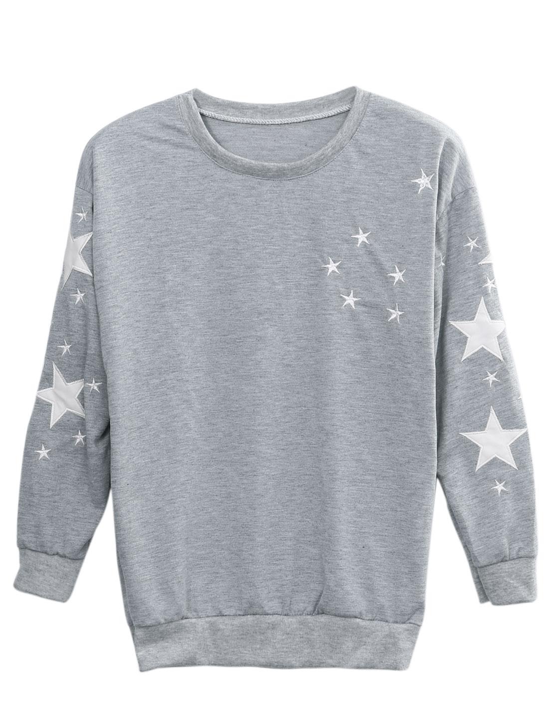 Lady Stars Pattern Round Neck Ribbed Hem Leisure Sweatshirt Light Gray XS