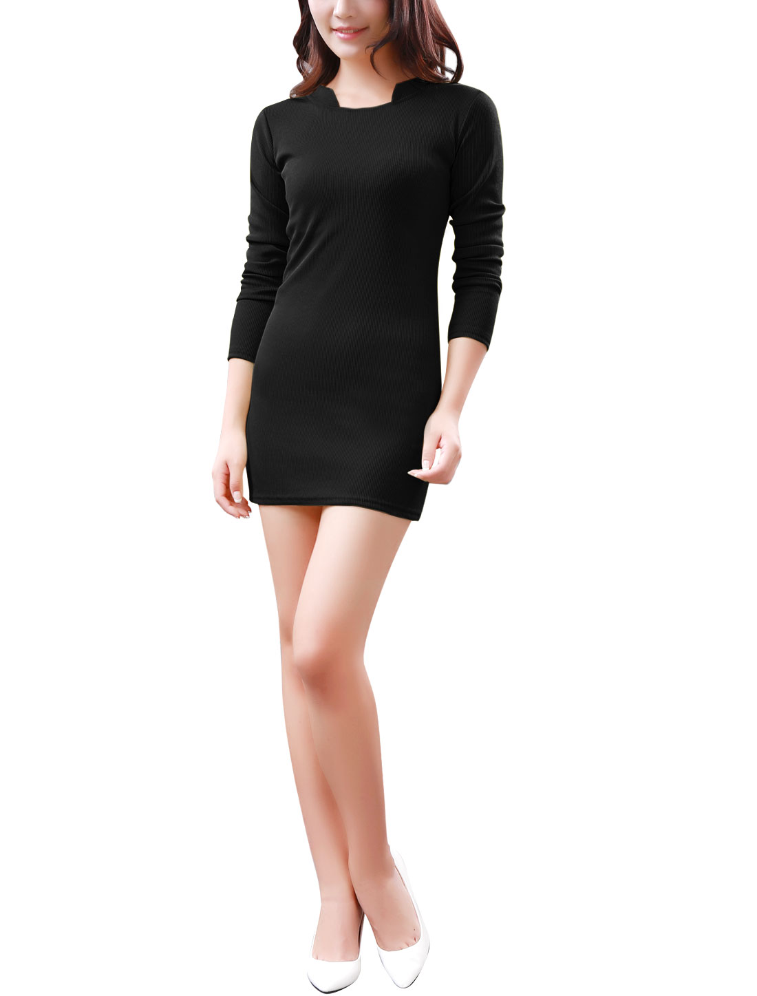 Lady Stand Collar Long Sleeves Ribbed Trim Sheathy Knit Dress Black S