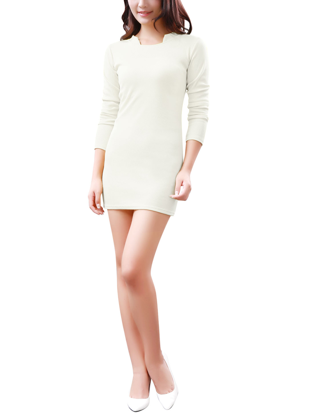 Women Stand Collar Long Sleeves Ribbed Trim Stretchy Knit Dress White S