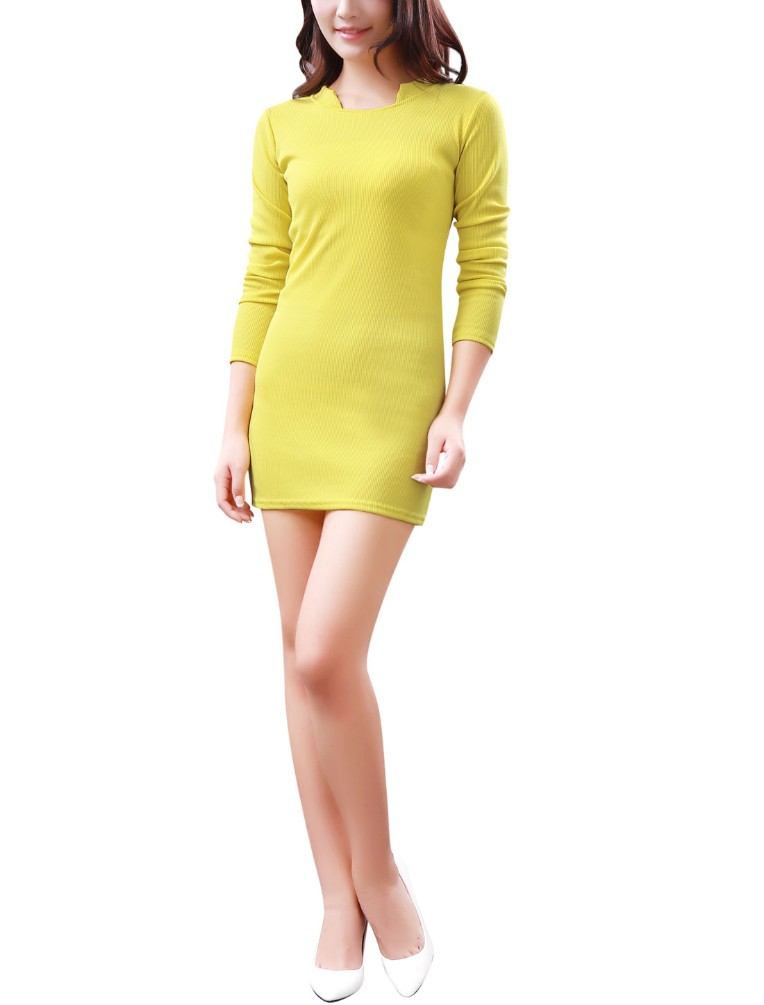 Women Stand Collar Long Sleeves Ribbed Hem Stretchy Knit Dress Yellow S
