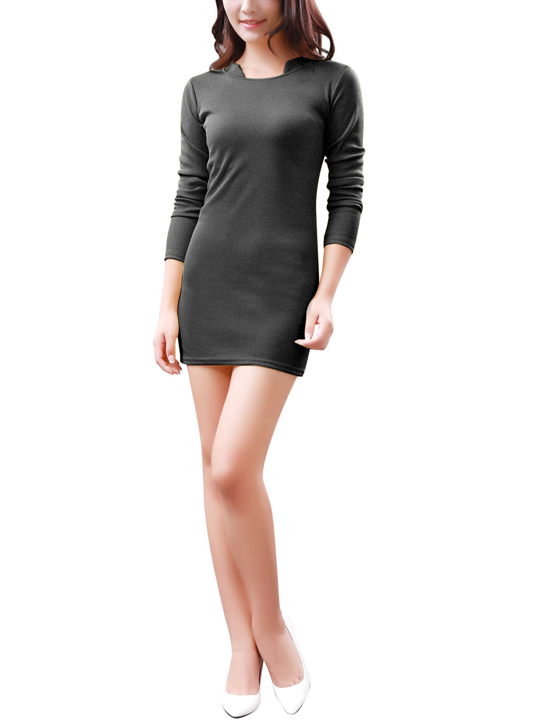 Women Stand Collar Long Sleeves Ribbing Trim Stretchy Knit Dress Dark Gray S