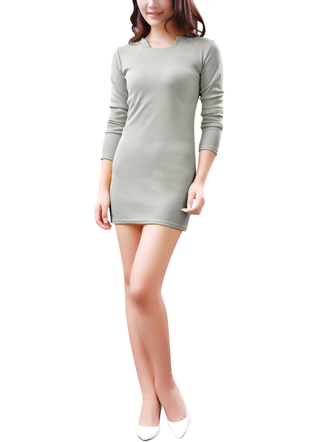 Women Stand Collar Pure Design Ribbed Trim Stretchy Knit Dress Light Gray S