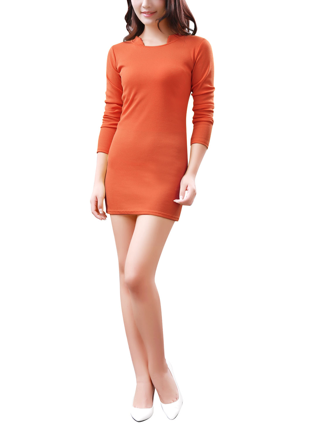 Women Stand Collar Pure Design Ribbed Cuffs Stretchy Knit Dress Orange S