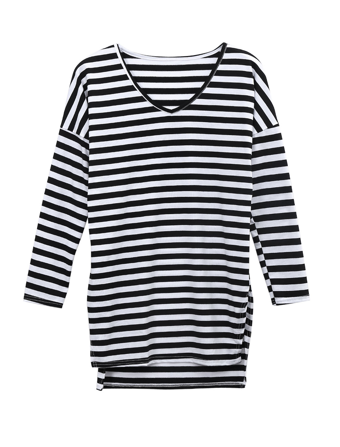Women Stripes V Neck Split Side Long Sleeve Loose Tunic Top Black White XS