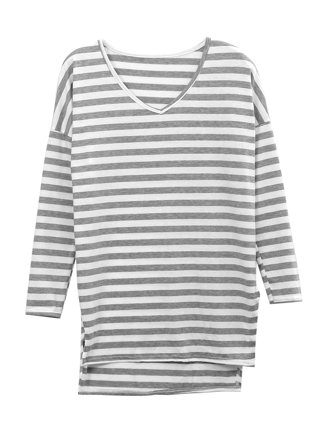 Lady Pullover Stripes Vent Side Loose Fit Tunic Top Light Gray White XS