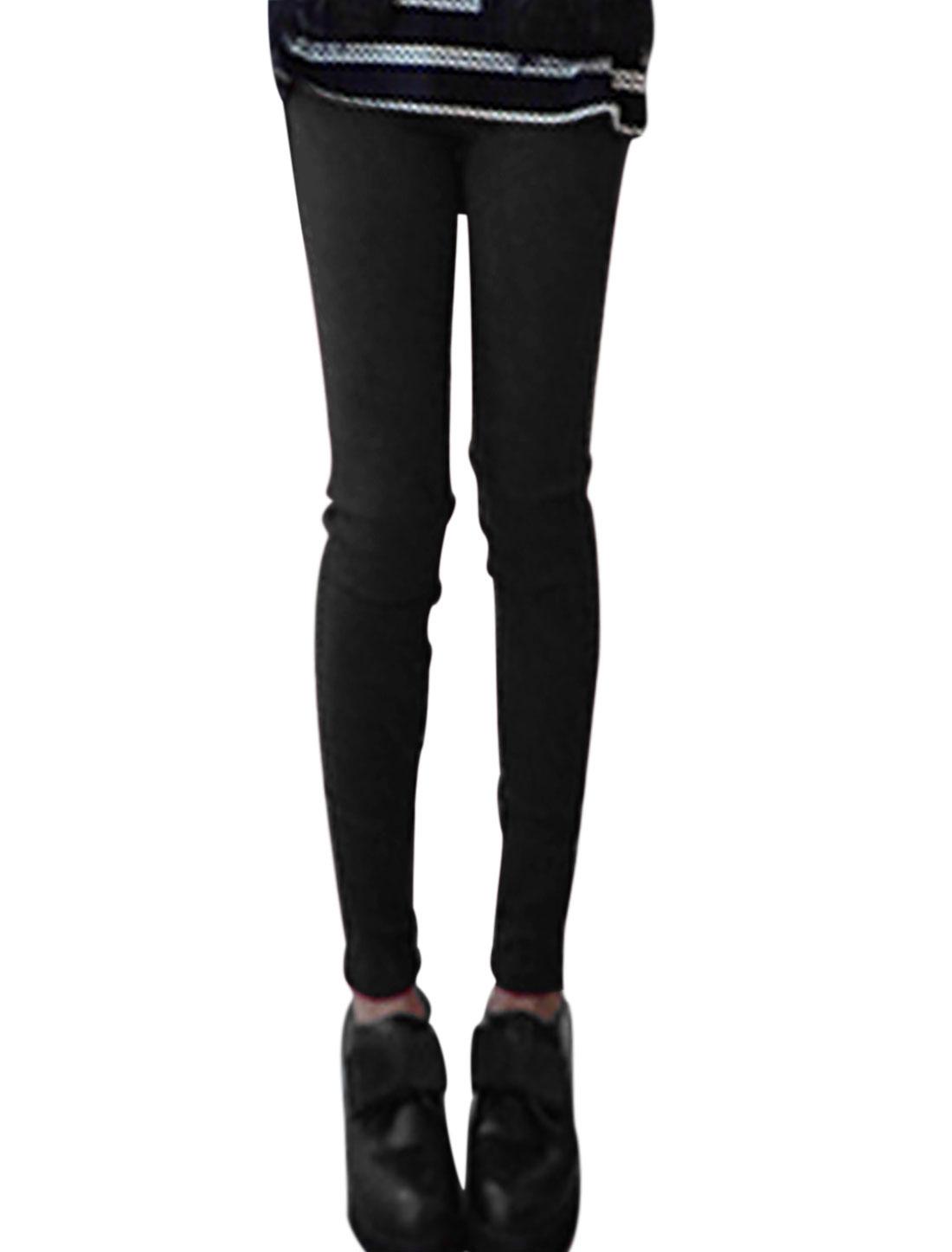 Ladies Black Elastic Waist Slant Pockets Slim Fit Leisure Pants XS