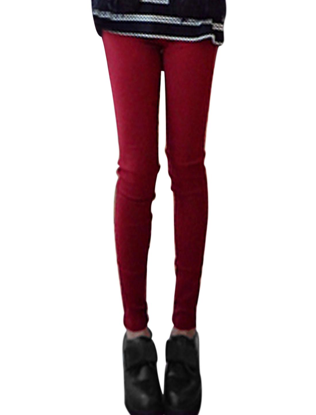 Ladies Burgundy Elastic Waist Hip Pockets Slim Fit Casual Pants XS