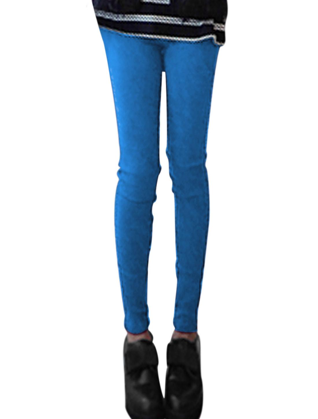 Ladies Blue Elastic Waist Slant Pockets Skinny Casual Pants XS