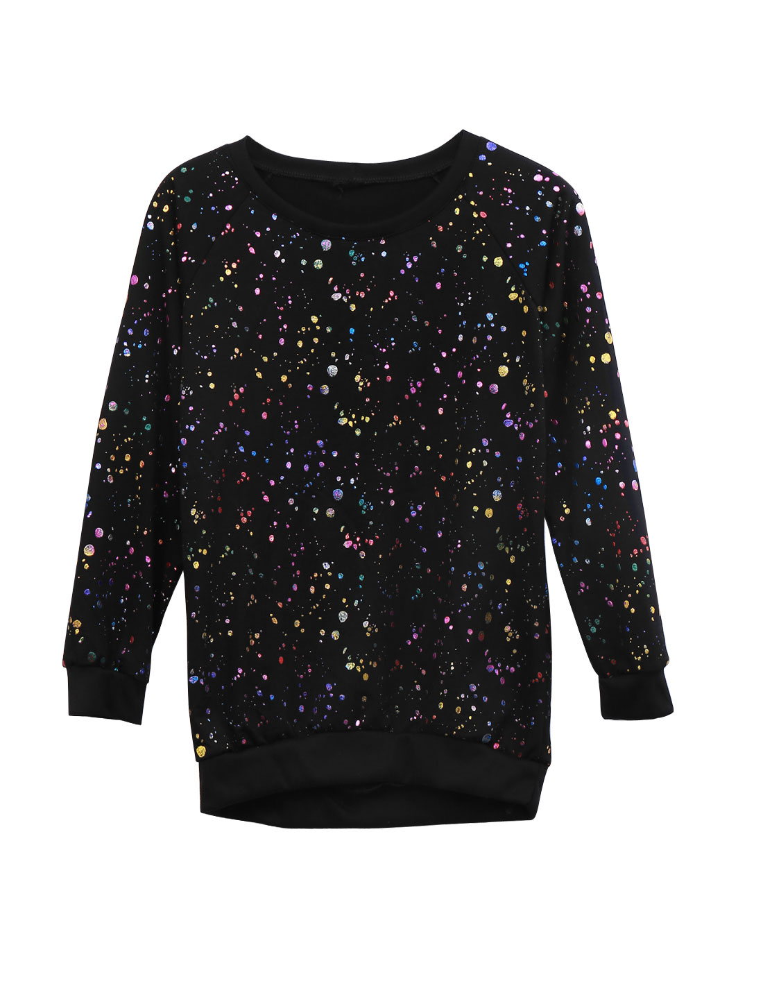 Women Dots Prints Raglan Sleeve Ribbed Hem Casual Sweatshirt Black XS