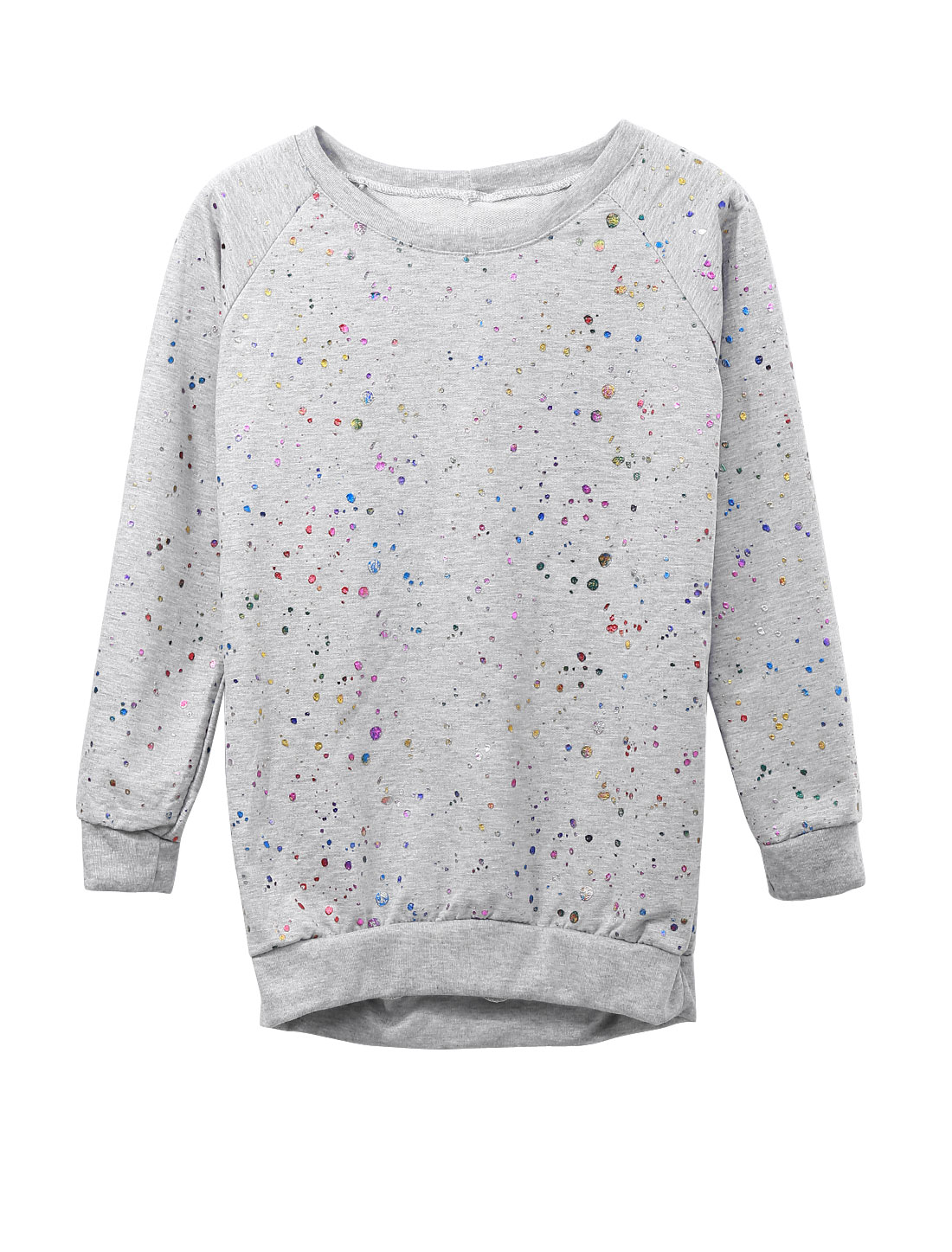 Lady Slipover Dots Prints Ribbed Hem Leisure Sweatshirt Light Gray XS