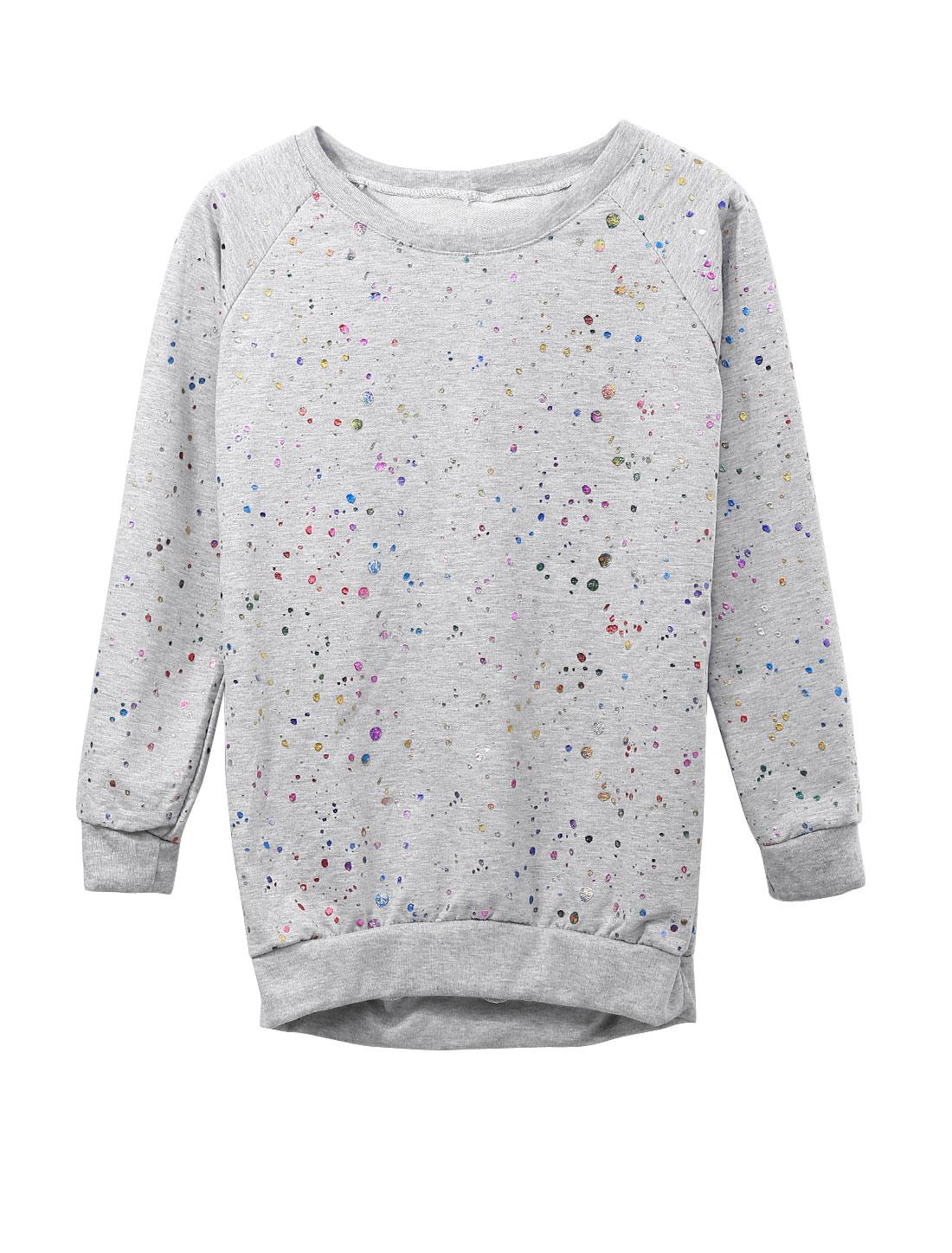 Lady Slipover Dots Prints Ribbed Hem Leisure Sweatshirt Light Gray XS