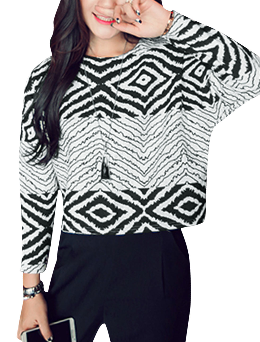 Women Argyle Zig-Zag Pattern Hidden Zipper Back Casual Top Black White XS