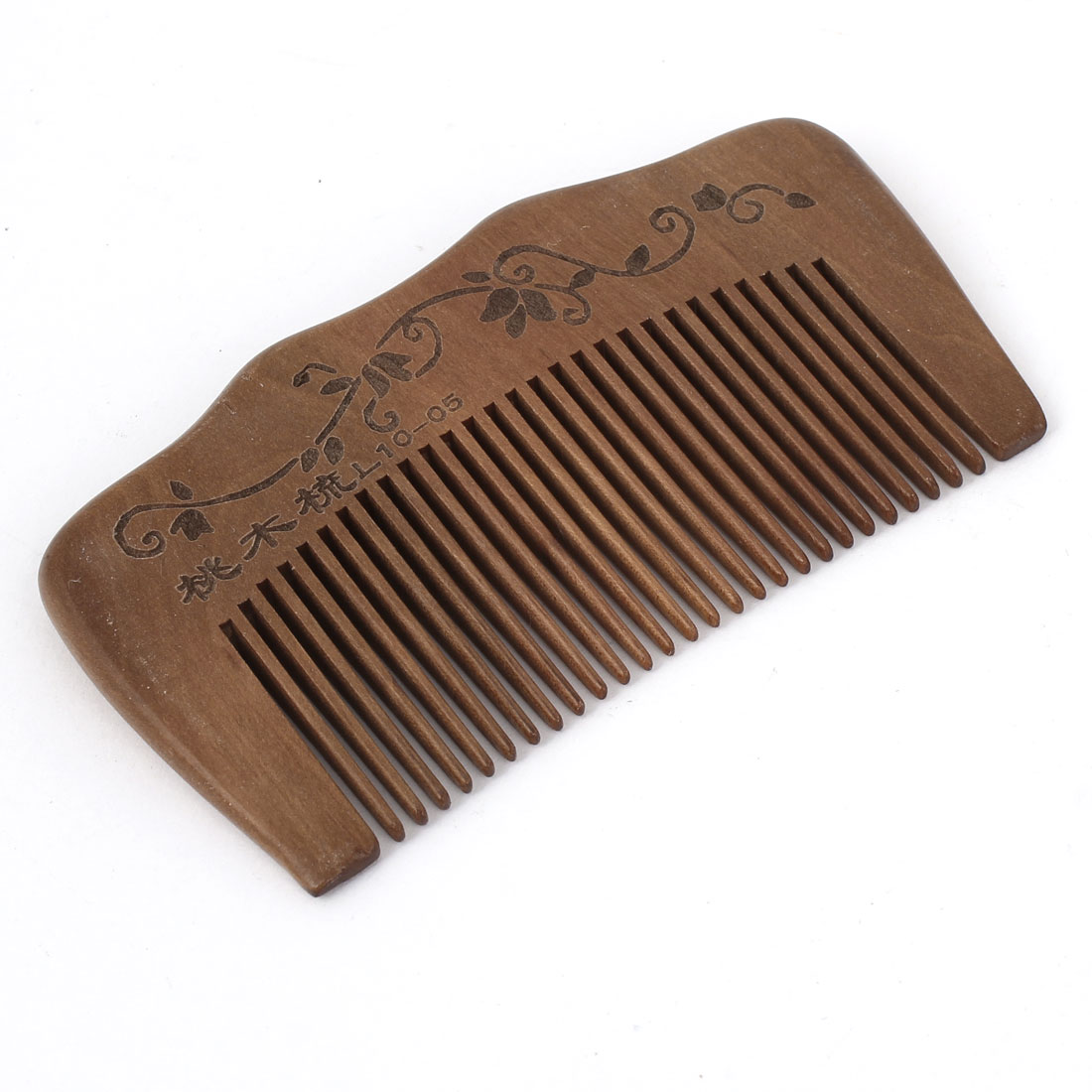 "3.7"" Length Handwork Carved Wood Hair Care Wave Shape Comb for Unisex"