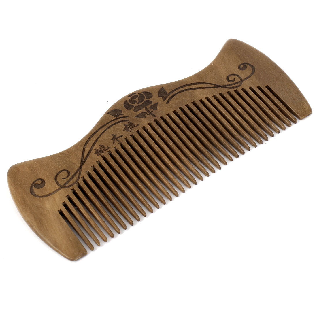 "5"" Length Handwork Carved Wood Narrow Tooth Hair Care Comb for Unisex"