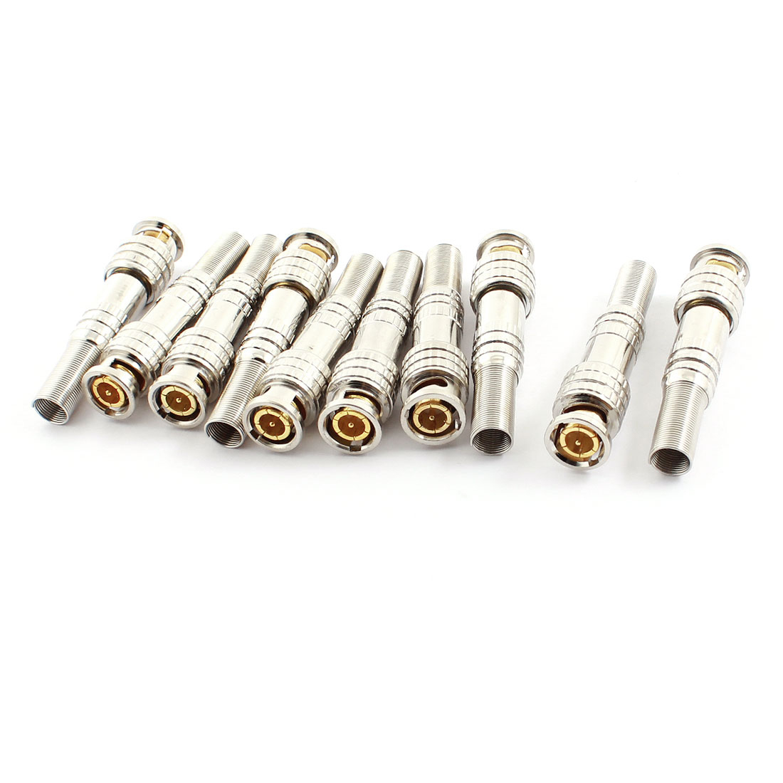 10 Pcs Weldless Spring RF Coaxial Cable BNC Male Jack Connector Adapter